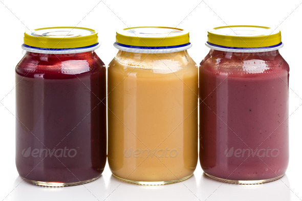 baby food in glass jar - Stock Photo - Images