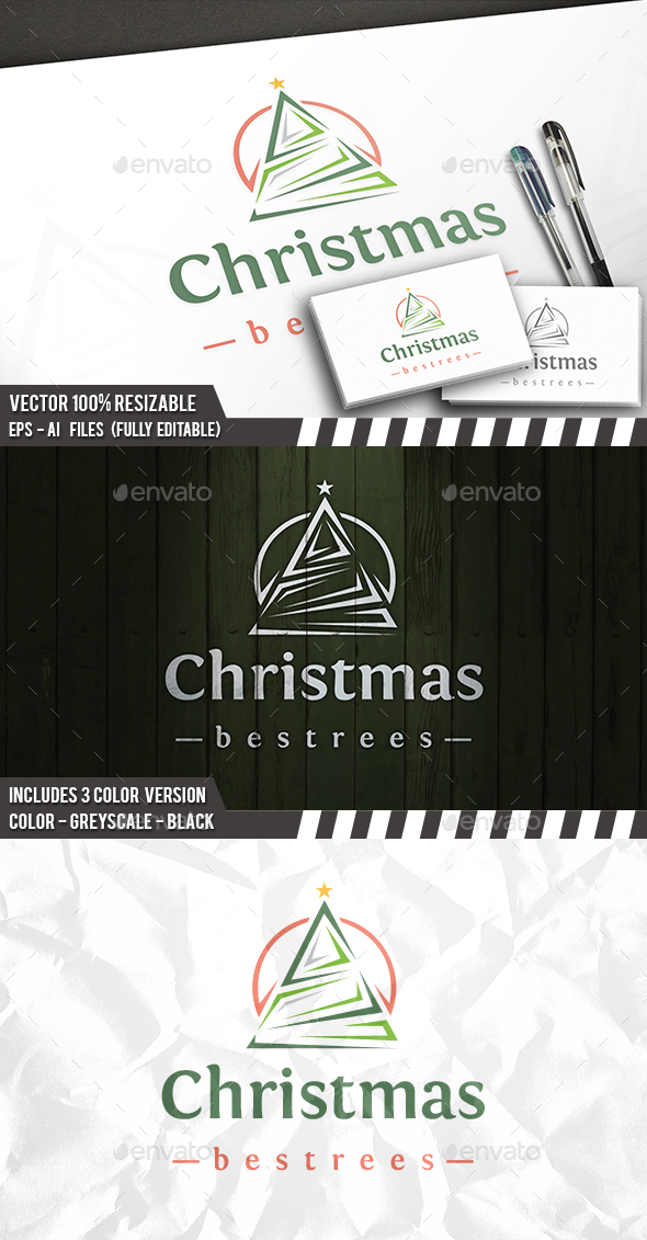 Christmas Tree Logo - Vector Abstract