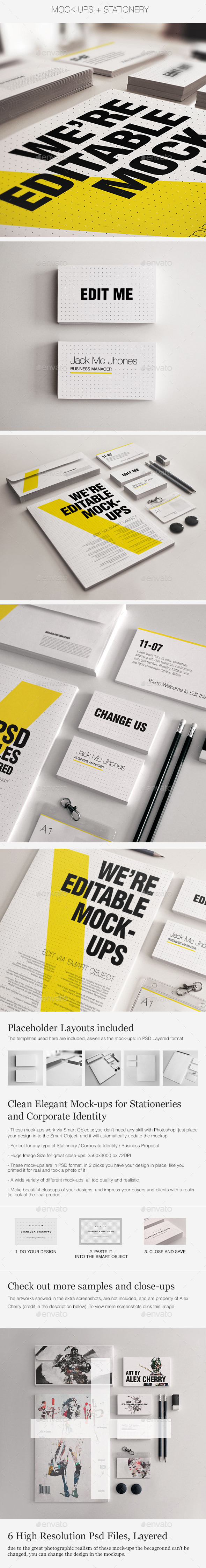 Realistic Stationery Mockups Set 3- Corporate ID - Print Product Mock-Ups