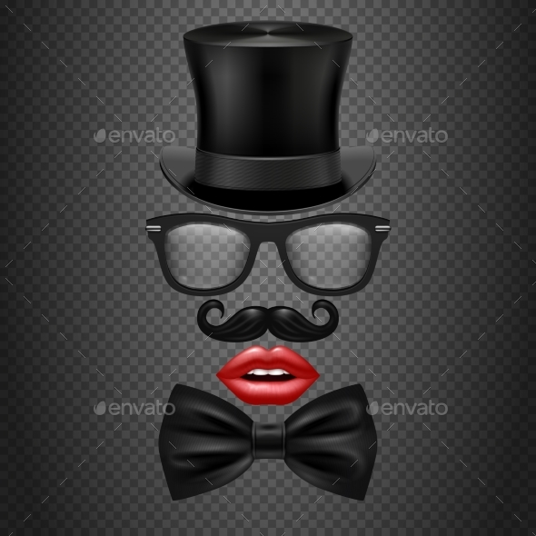 Mustache, Bow Tie, Glasses, Red Girl Lips - Objects Vectors
