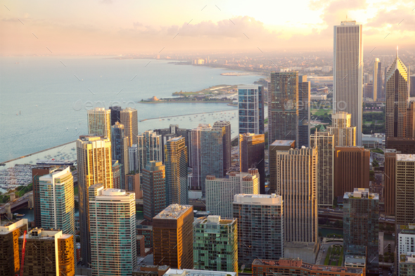 Chicago skyscrapers sunset view - Stock Photo - Images