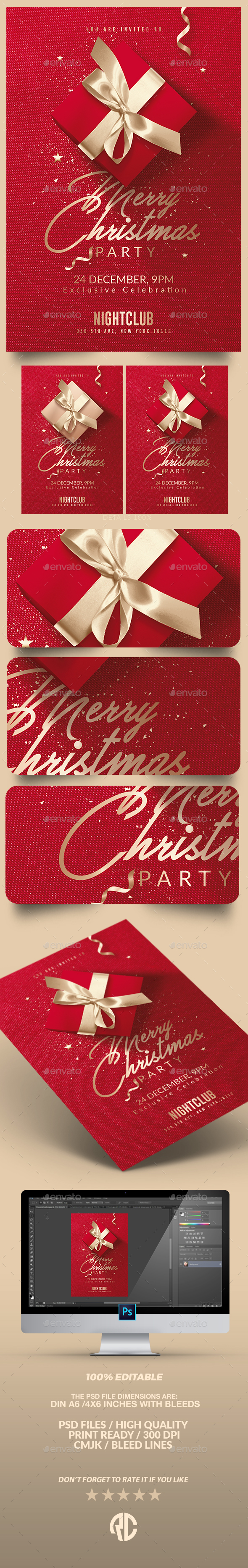 Red Christmas Party | Invitation Flyer Template