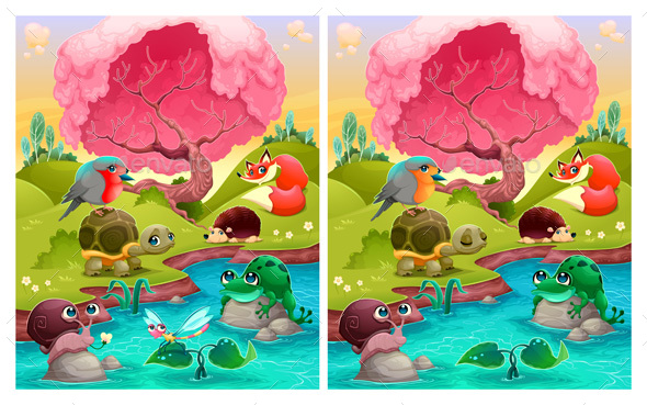Spot the differences, Six Changes Between the Two Illustrations. - Animals Characters