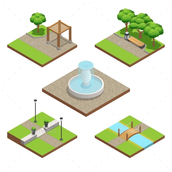 Isometric Landscaping Composition - Nature Conceptual