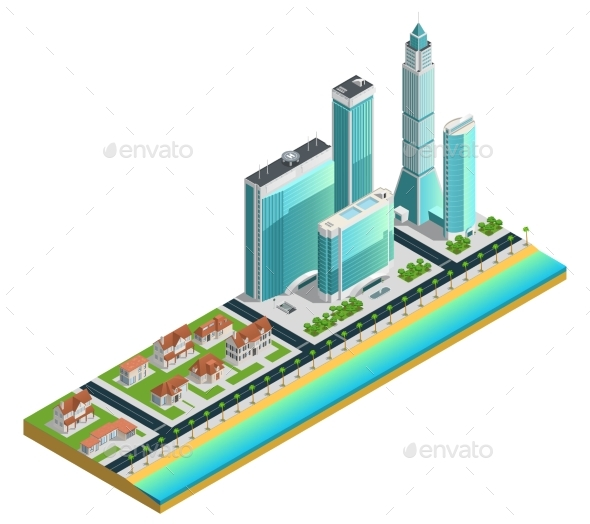 Isometric Skyscrapers And Suburban Houses - Miscellaneous Conceptual