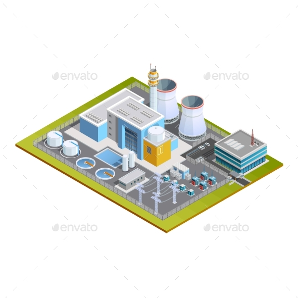 Isometric Image Of Nuclear Station - Technology Conceptual