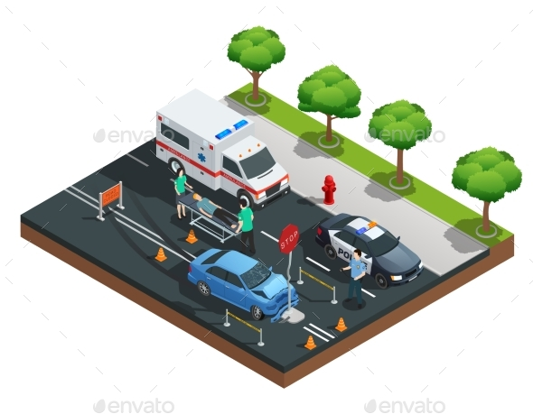 Isometric Car Accidents Composition - Miscellaneous Conceptual