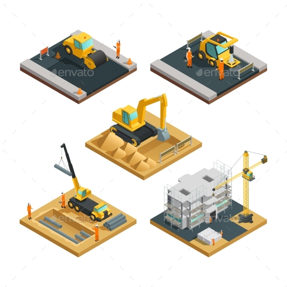 Construction Isometric Composition Set - Industries Business