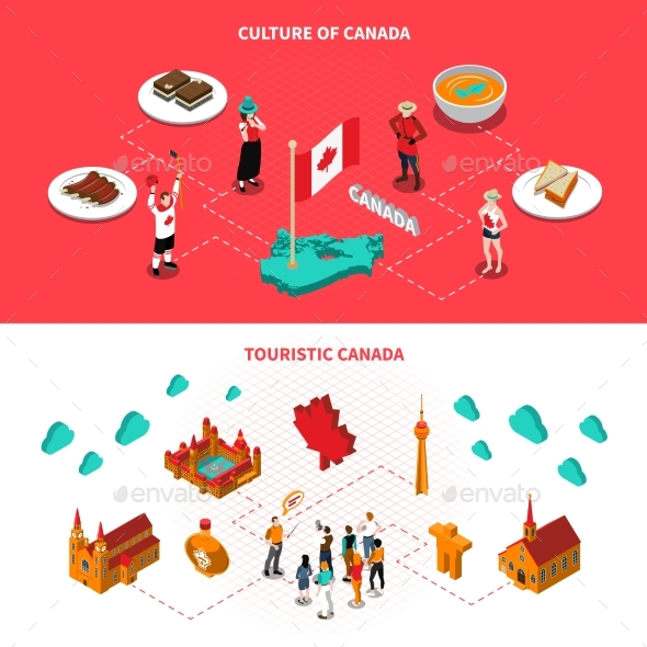 Canada Touristic Attractions Horizontal Isometric - Travel Conceptual