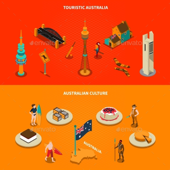 Australian Touristic Attractions 2 Isometric - Travel Conceptual