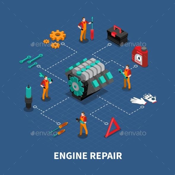Car Repair Auto Center Isometric Composition - Conceptual Vectors