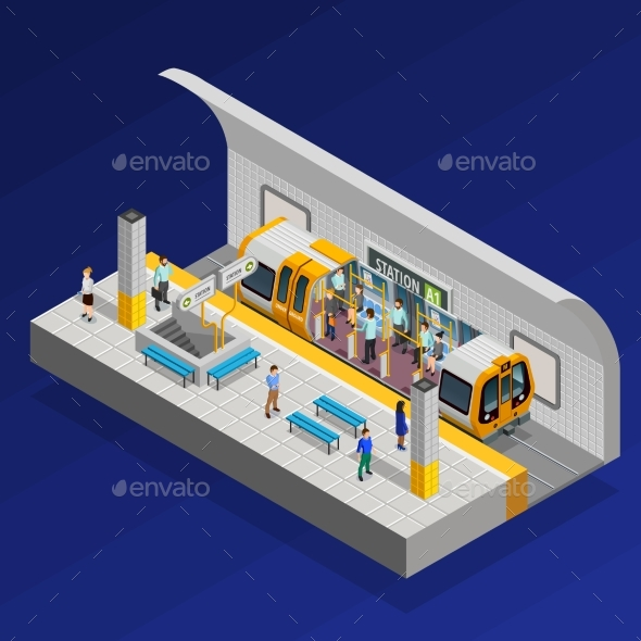 Underground Station Isometric Concept - Buildings Objects
