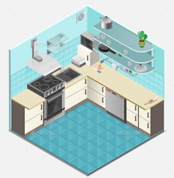 Kitchen Interior Isometric Template - Abstract Conceptual