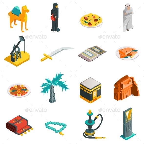 Saudi Arabia Isometric Touristic Icons Set - Abstract Conceptual