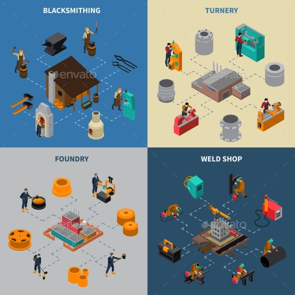Metalworking 4 Isometric Icons Square Poster - Technology Conceptual