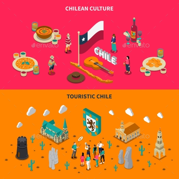 Touristic Chile 2 Isometric Horizontal Banners - Travel Conceptual