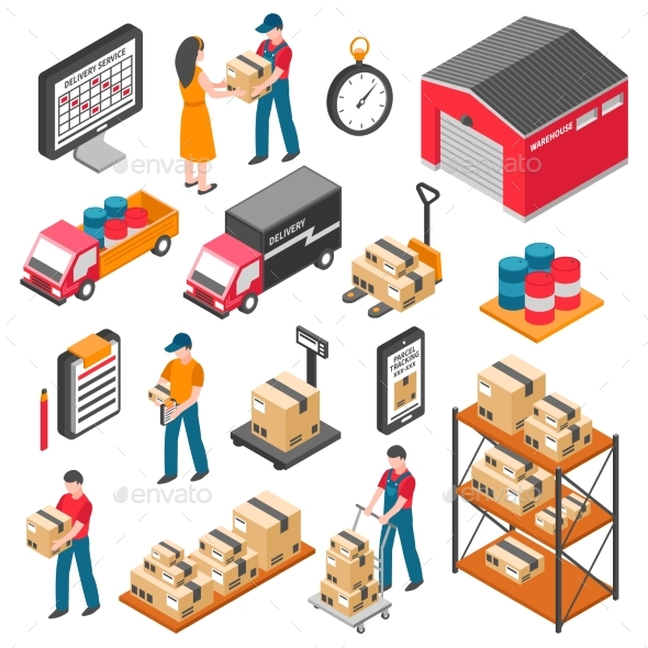 Logistics And Delivery Isometric Icons Set - People Characters