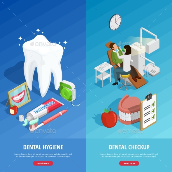 Dentistry Isometric Vertical Banners - Abstract Conceptual