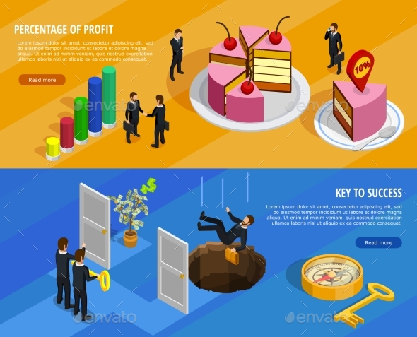 Business Development Isometric Horizontal Banners - Abstract Conceptual
