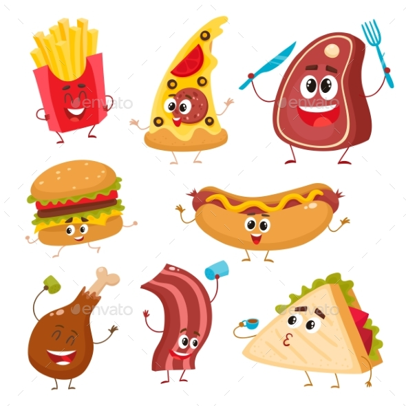 Set of Funny Cartoon Fast Food Characters - Food Objects