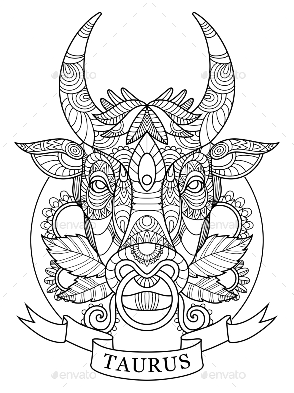 Taurus Zodiac Sign Coloring Book for Adults Vector - Tattoos Vectors