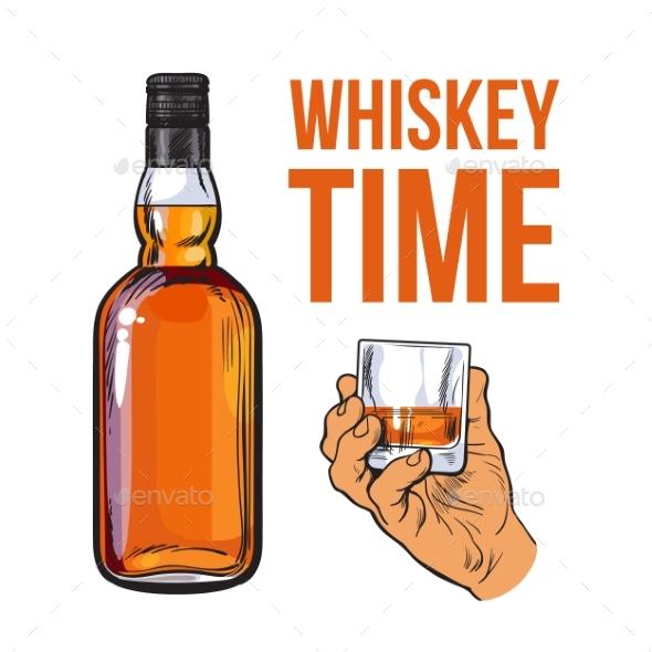 Whiskey Bottle and Hand Holding Full Shot Glass - Backgrounds Decorative