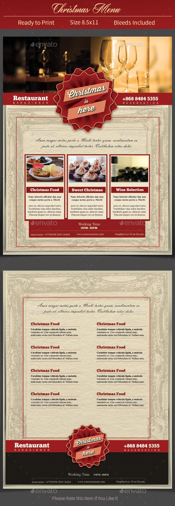 Christmas Restaurant Menu - Food Menus Print Templates