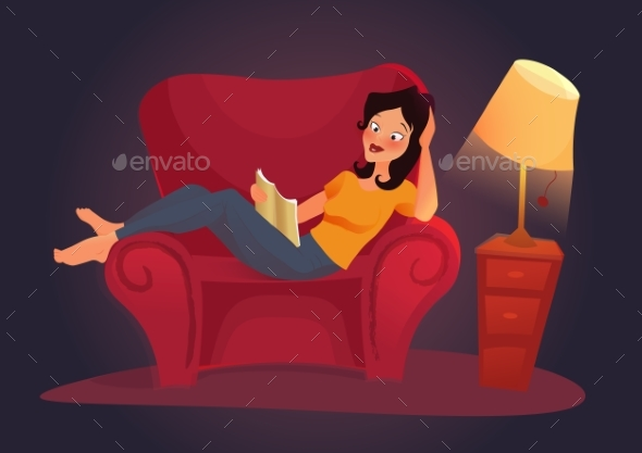 Vector Living Room With Woman. Flat Illustration - Web Technology