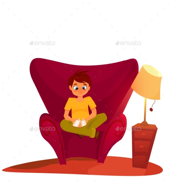 Boy Reading Book Sitting On The Armchair - Backgrounds Decorative