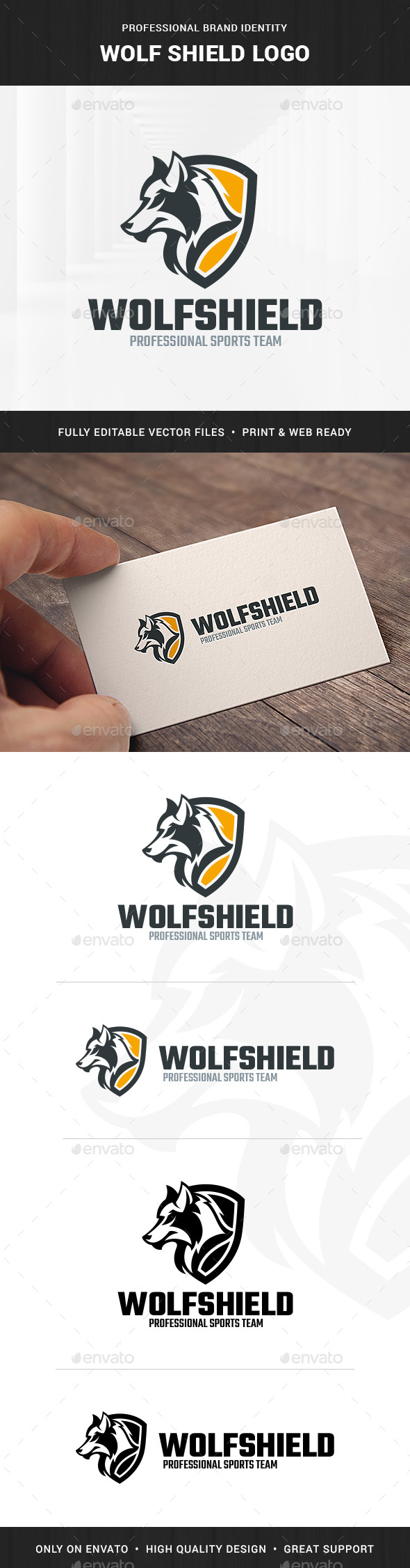 Wolf Shield Logo Template - Animals Logo Templates
