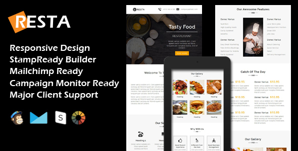 RESTA – Responsive Restaurant Email Template + Stamp Ready Builder