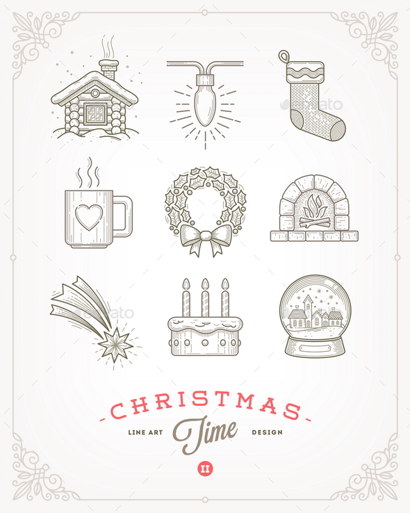 Set of Christmas Signs and Symbols - Christmas Seasons/Holidays