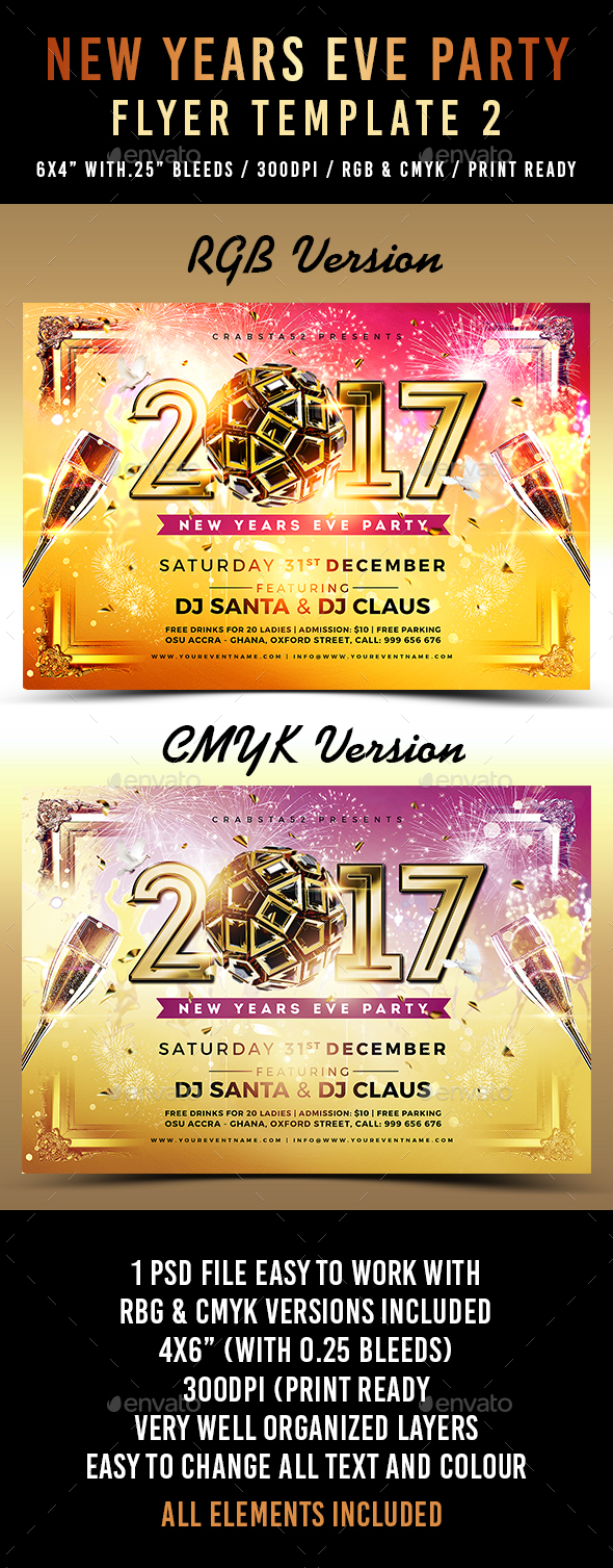 New Years Eve Party Flyer Template 2 - Flyers Print Templates