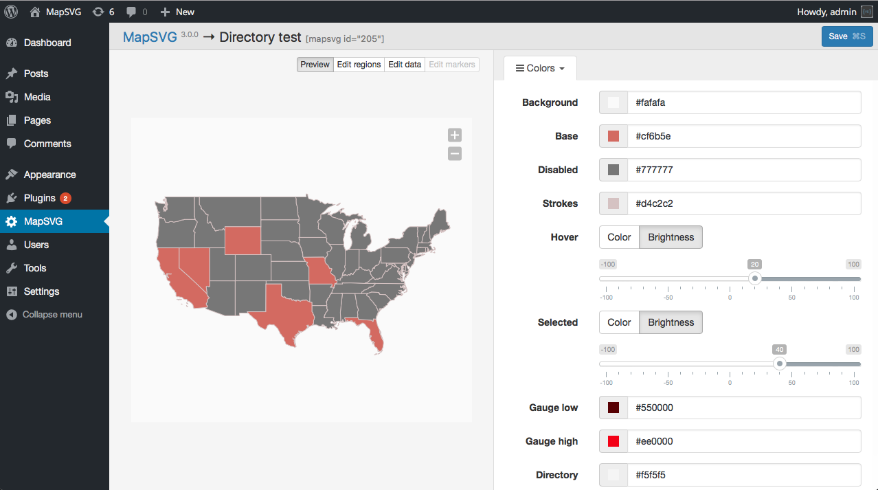 MapSVG Interactive Vector Maps Floorplans With Directory - Interactive us map wordpress