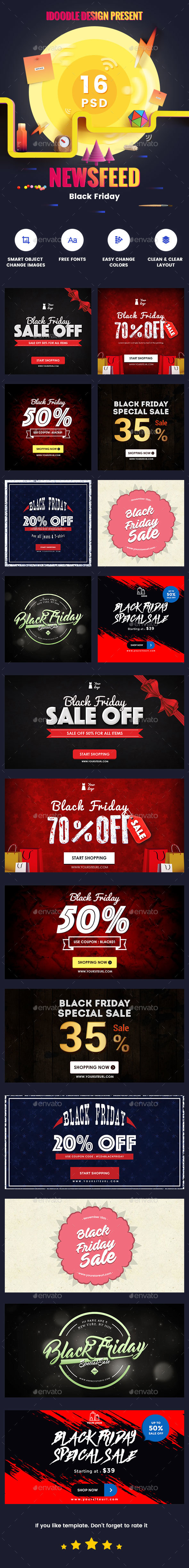BlackFriday NewsFeed Banners Ads - 16 PSD [02 Size Each] - Banners & Ads Web Elements