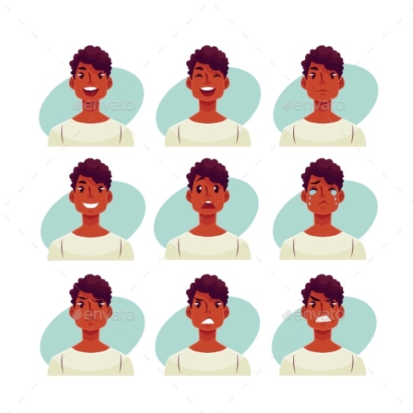 Set of Young African Man Face Expression Avatars - People Characters