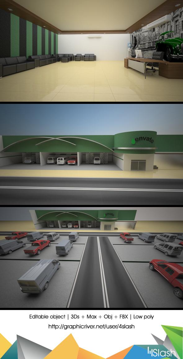 3d Car wash showroom - 3DOcean Item for Sale
