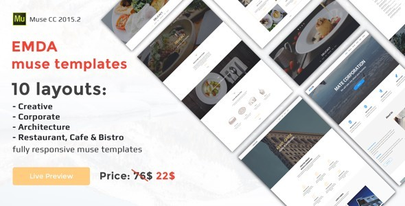 EMDA – 10-in-1 – Mega Sale muse responsive templates