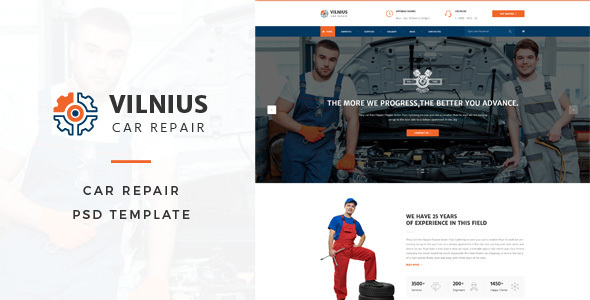 Vilnius : Car Repair PSD Template - Business Corporate