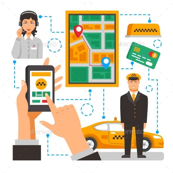Taxi Service Conceptual Illustration - Concepts Business