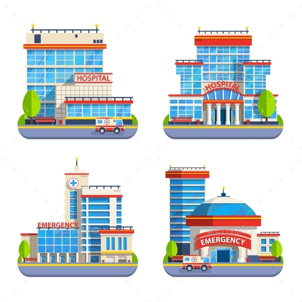 Hospital Flat Isolated Icons - Buildings Objects