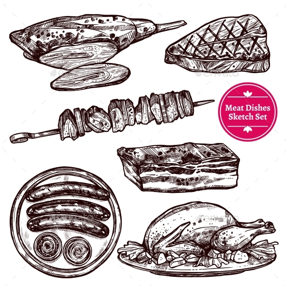 Meat Dishes Set - Abstract Conceptual