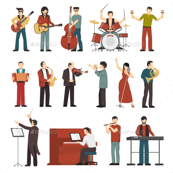 Musicians Color Icons Set - People Characters