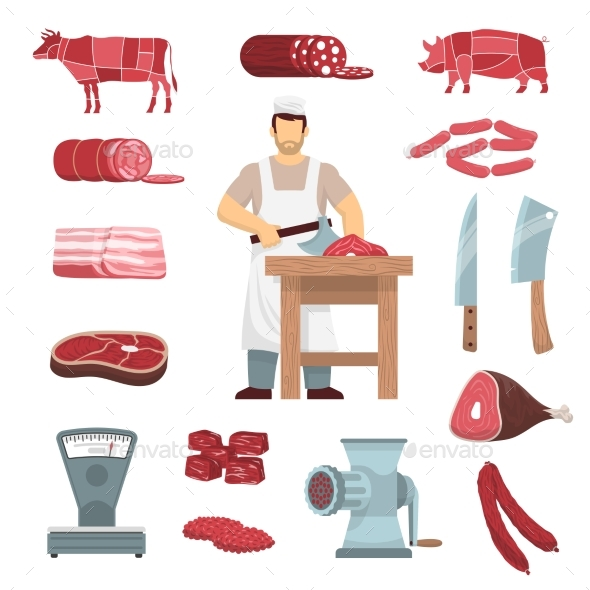 Meat Butcher Set - Food Objects