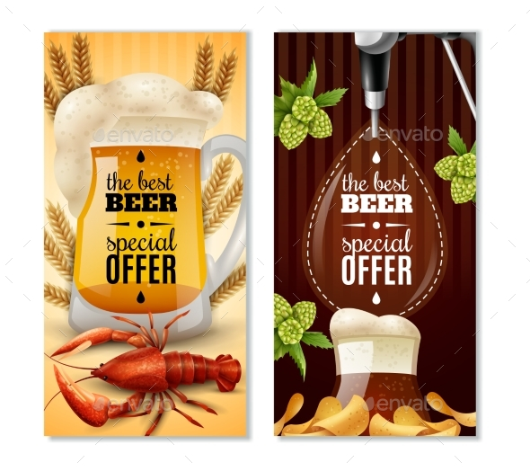 Dark Light Beer 2 Vertical Banners Set - Food Objects