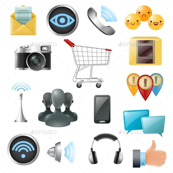 Social Media Symbols Accessories Icons Collection - Miscellaneous Conceptual