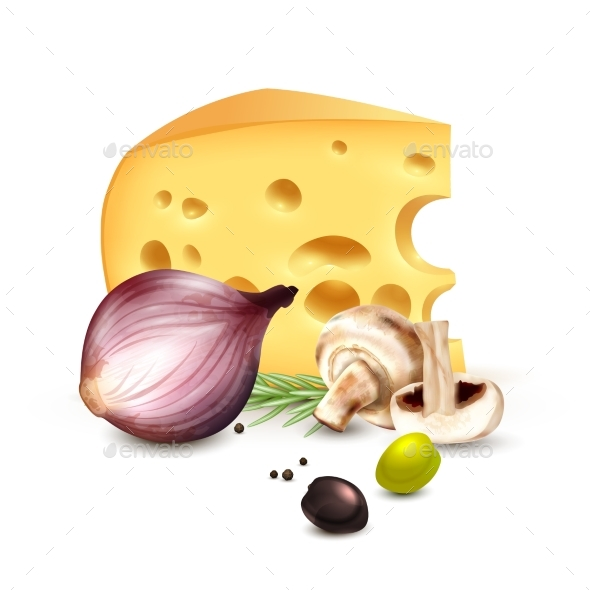 Cheese Onion Olives Realistic Background Poster - Food Objects