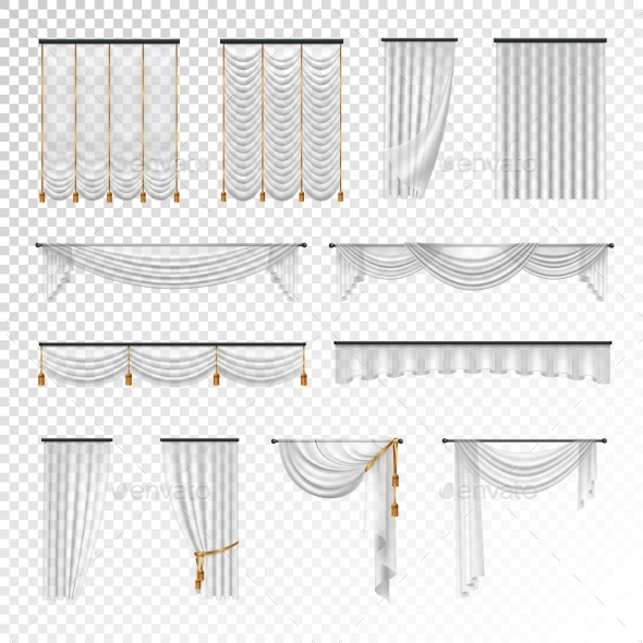 Transparent Curtains Draperies Realistic Set - Man-made Objects Objects
