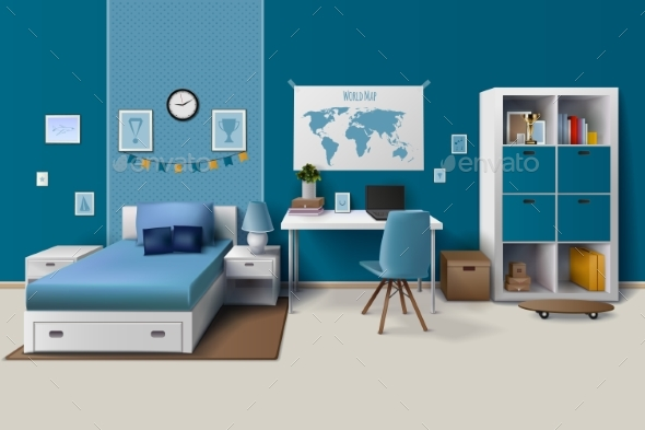 Teen Boy Room Interior Realistic Image - Man-made Objects Objects