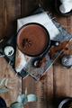 Overhead View of Hot Chocolate Drink in Mug Sprinkled with Cinnamon on Vintage Napkins - PhotoDune Item for Sale